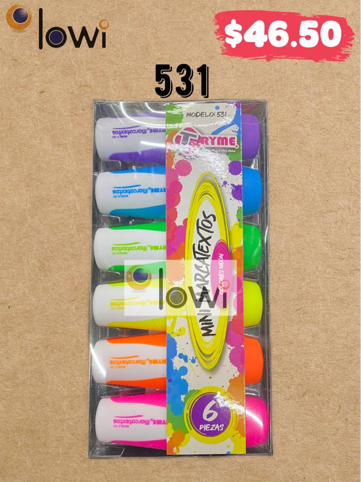 Blister con 6 Mini Marcatextos Colores Fluorescentes. TRYME