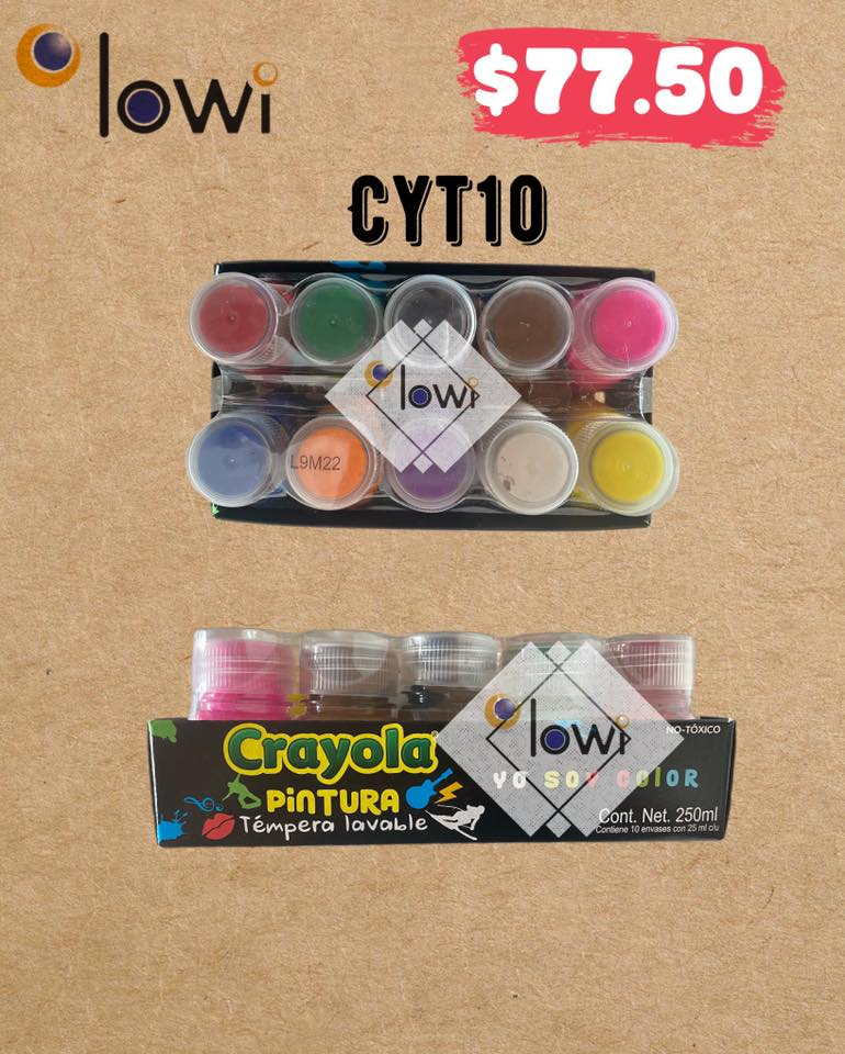 Pintura Tempera lavable CRAYOLA c/10 colores.