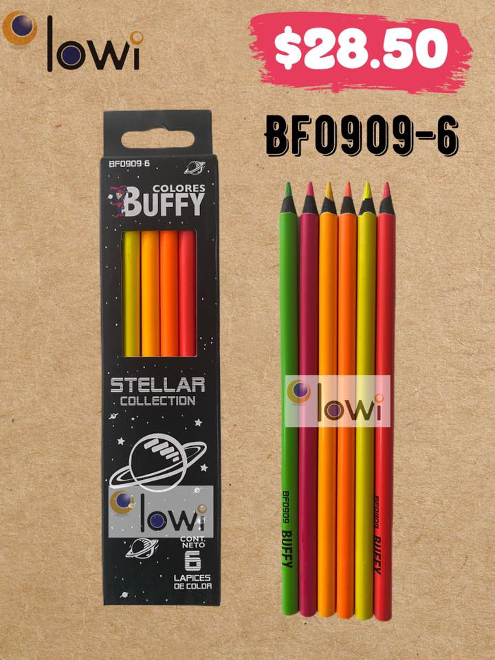 3 blister con 6 lapices de  Color  BUFFY Stellar Collection. Precio unitario $28.50