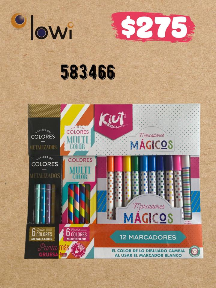 Set con 12 Marcadores magicos, 6 colores multicolor y 6 colores metalizados KIUT